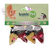 Iconic Pet 6 Pack Two-Tone Short Hair Fur Mice with Feather Tail-Assorted-24 Pieces