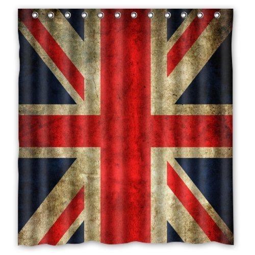 Eco Friendly Vintage United Kingdom Union Jack Flag British Flag Printed Fabric Shower Curtain Polyester Waterproof Bathroom Curtains with Free Hooks 66