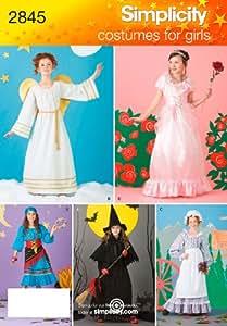 Simplicity 2845 - Patrones de costura para disfraces de niña (tallas 2 a 12 años)