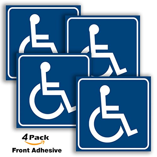 Handicap Stickers Decal Symbol - 4 pack, 6x6 in - ADA Compliant - Disabled Wheelchair Sign, Disability Sticker, Premium Front Adhesive Vinyl for applying inside the Window or Glass Door.