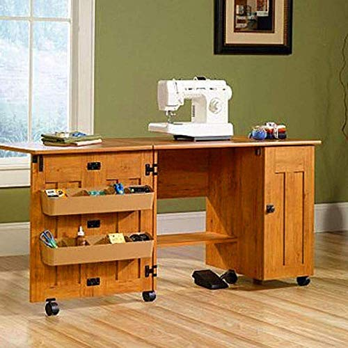 Sewing Craft Storage Cabinet Cart Craft Station Folding Table Amber Pine Finish Framed Door Adjustable Shelves Storage Bins Roll-Open Door Sturdy Οrganization of Τools &eBook by BADA Shop
