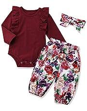 KANGKANG Newborn Baby Girl Clothes Flare Sleeve Romper + Floral Short Pants 2pcs Summer Outfit Set 0-18Months