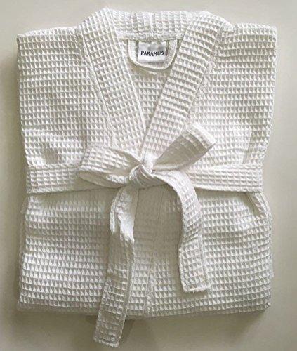 Paramus Women's Knee Length Waffle Weave Kimono Bathrobe