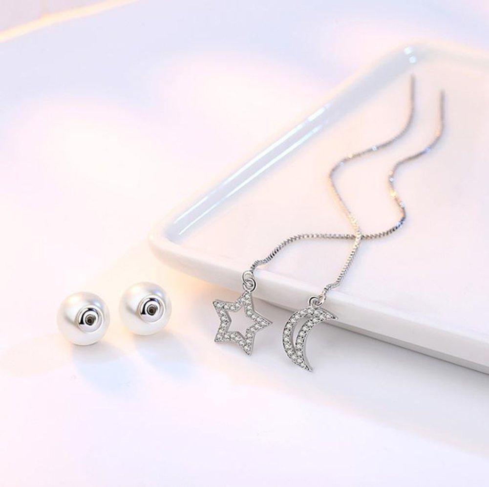 Nikgic Pendientes de gota luna y estrella pendientes de tuerca cadena de perlas ni/ñas para mujeres pendientes asim/étricos plata se/ñoras