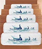 iPrint Non-Slip Carpets Stair Treads,War Home Decor,Portrait of Viking Drakkars in Rough Nordic Sea Wood Ships of Scandinavian Ancient,Blue,(Set of 5) 8.6''x27.5''