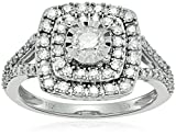 10k White Gold Miracle Plated Double Halo Framed Diamond Ring (1cttw, I-J Color, I2-I3 Clarity), Size 7