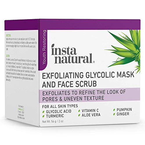 InstaNatural Exfoliating Glycolic Face Mask & Facial Scrub - Acne & Blackhead Treatment for Brightening and Exfoliation with Turmeric & Vitamin C - Natural AHA Enzyme Exfoliant for Scars & Glowing Skin