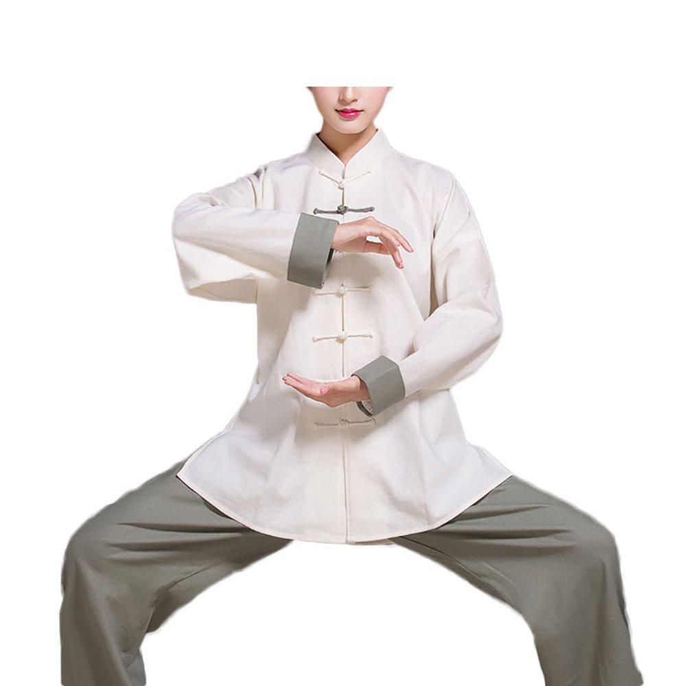 KIKIGOAL Linen Unisex Chinese Traditional Tai Chi Uniforms Kung Fu Clothing Long Sleeve Tang Suit Martial Arts Wear (XXXL, grey)