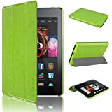 Swees® Kindle Fire HD 6 Tablet (2014 Oct Release) Case Ultra Slim Flip Leather Standing Protective Cover with Auto Sleep/Wake Feature (will only fit Amazon Kindle Fire HD 6-Inch Tablet 2014 Release), Green