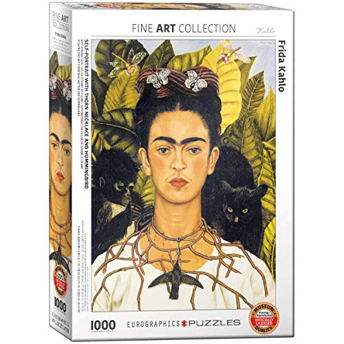 EuroGraphics Self Portrait with Thorn Necklace and Hummingbird by Frida Kahlo (1000 Piece) - Puzzle Eurographics Jigsaw