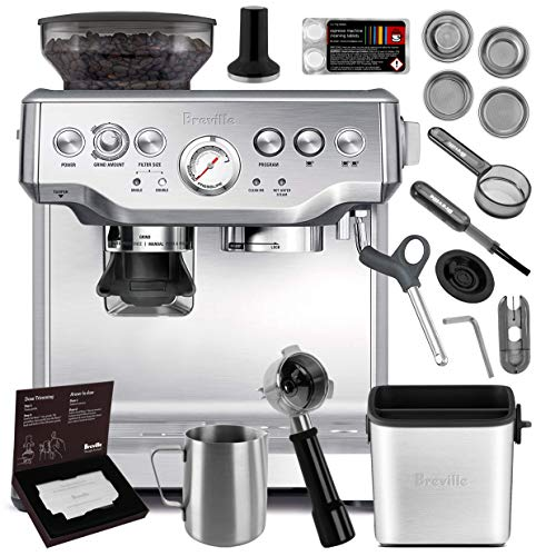 Breville Stainless Steel Espresso Maker - Breville BES870XL Barista Express Espresso Machine Brushed Stainless Steel + Manufacturer's Warranty + Knock Box Mini