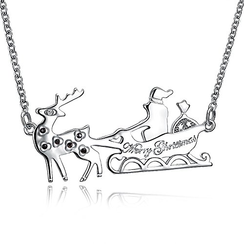 JAJAFOOK Charming Merry Christmas Santa Claus Sleigh Tiny Dainty Pendant Necklace, Xmas Gifts