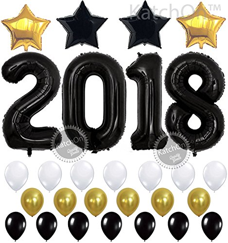 KATCHON 2018 Balloons Kit, Black, Large - Graduation Party Supplies 2018 - Graduation Balloons for Graduation Decorations - New Years Eve Party Supplies - with Black and Gold Star and Balloon String -