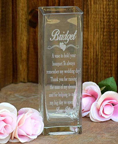 (Laser Engraved Glass Vase - Etched Glass Vase Etched Glass - Wedding Gift - Gift - Mother of the Bride Gift - Mother of the Groom Gift )