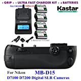 Kastar Pro Multi-Power Vertical Battery Grip (Replacement for MB-D15) + 4x EN-EL15 Replacement Batteries + Ultra Fast Charger Kit for Nikon D7100 D7200 Digital SLR Cameras