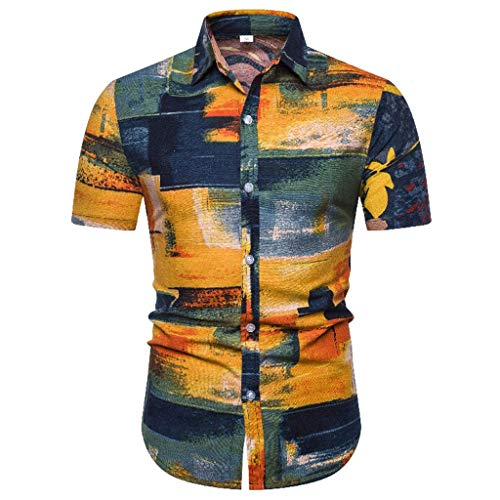 ANJUNIE Mens Ethnic Short Sleeve Hawaiian Shirt,Casual Cotton Linen Printing Blouse(Yellow 2,L)
