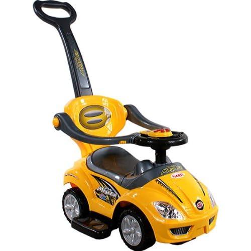 Jouets ? tirer Trotteur Porteur Baby Car ARTI 382 Mega Car Deluxe Yellow Ride-On Activity Toy + poignée amovible pour les parents
