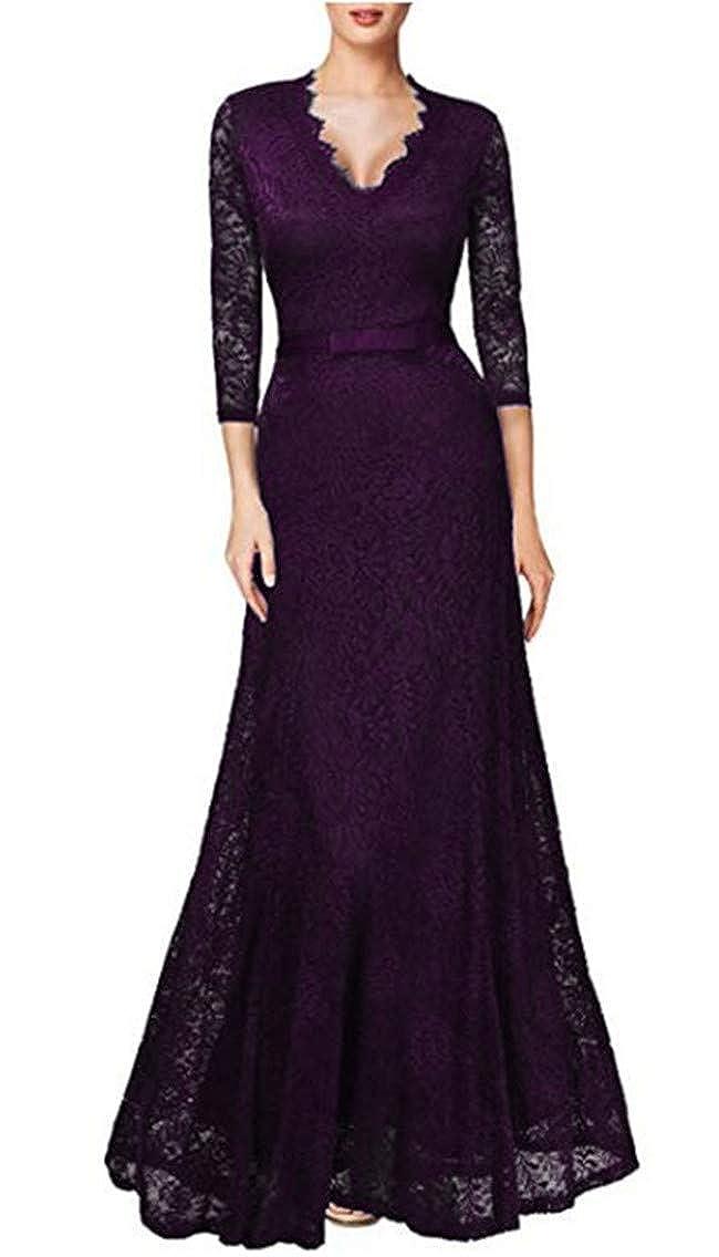 Grape Purple Snow Lotus Women's VNeck SevenMinute Sleeve Lace Mermaid Prom Dresses Long Bride Mother Dresses