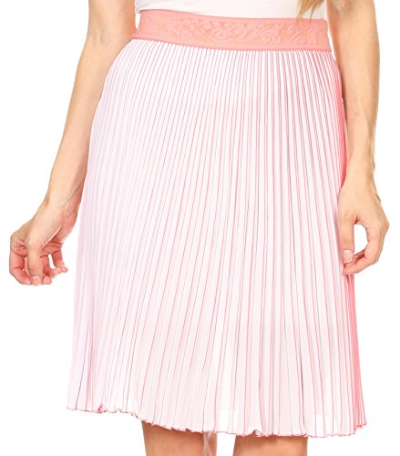 Sakkas 17252 - Amira Accordion Pleated Midi Crepe Slim Skirt with Elastic Waist - Salmon/Blue - OS