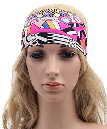 Bandeau cheveux tête multicolore motifs psychédélique ajustable élastique.