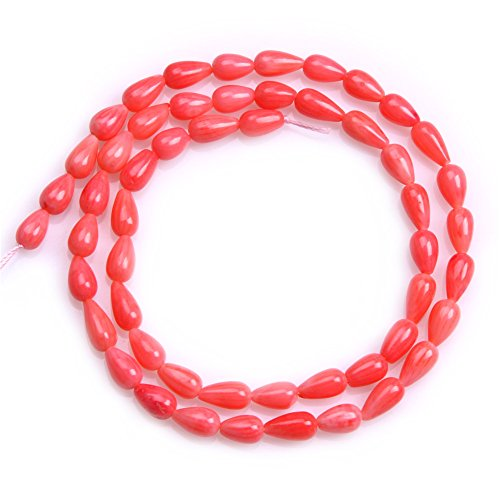 JOE FOREMAN 5x9mm Pink Coral Semi Precious Gemstone Drop Loose Beads for Jewelry Making DIY Handmade Craft Supplies 15