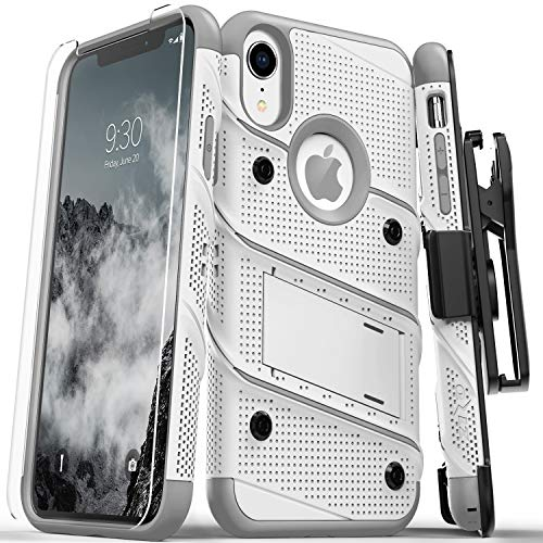 Zizo Bolt Series Compatible with iPhone XR Case Military Grade Drop Tested with Tempered Glass Screen Protector Holster and Kickstand White Gray
