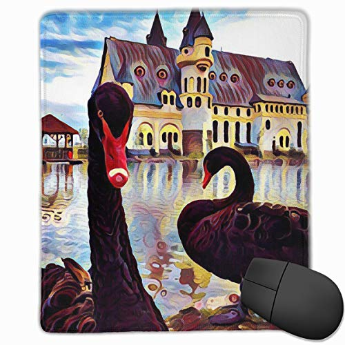 Office Mouse Pad Cute Black Swan Illustration Rectangle Rubber Mousepad 8.66 X 7.09 Inch Gaming Mouse Pad with Black Lock -