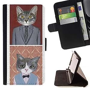 Momo Phone Case / Flip Funda de Cuero Case Cover - Gato de negocios divertido lindo Pop Traje Arte - Samsung Galaxy Note 5 5th N9200