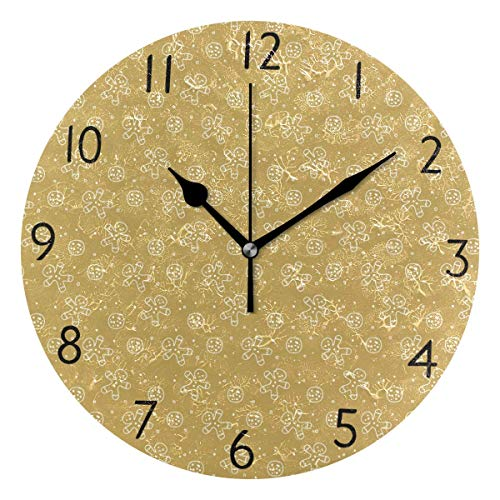 (CANCAKA Christmas Gingerbread Man Round Acrylic Premium Wall Clock Silent Non Ticking Decorative Clock Art Home Office)