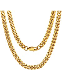 Men Chunky Miami Cuban Chain Necklace, Custom Available, 6/9/14mm Width, 18/20/22/24/26/28/30inch Length, Gold Plated/Stainless Steel/Black-with Gift Box