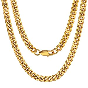 Best Epic Trends 510lXoWScuL._SS300_ ChainsPro Men Chunky Miami Cuban Chain Necklace, Custom Available, 6/9/14mm Width, 18/20/22/24/26/28/30inch Length, Gold…