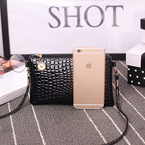Women Shoulder Bag Crocodile Pattern Clutch Tote Messenger Mini PU Leather Handbag,Crossbody Bag,Coin Purse,Mobile Phone Bag,Black