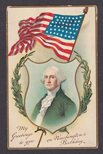 Greetings on George Washington's Birthday embossed postcard 1910 American flag