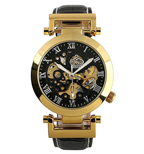 Carrie Hughes Men's Fashion Gold Steampunk Skeleton Automatic Self Winding Mechanical Leather Watch Christmas Gifts
