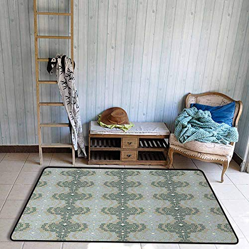 - Outside The Door Rug Floral Abstract Art Damask Desgin Floral Ornament Background Wallpaper Pattern Print Durable W39 xL63 Blue and Taupe
