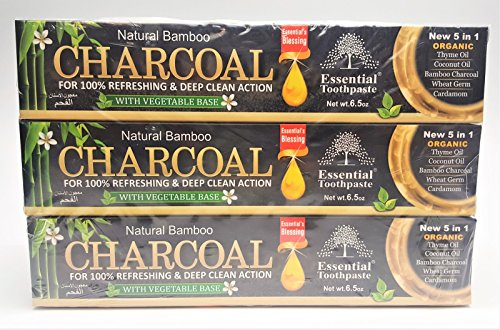 Organic Bamboo Charcoal Toothpaste 100% Natural Teeth Whitening 3 Pack Oral Care - 6.5 oz (Bamboo Charcoal Toothpaste)