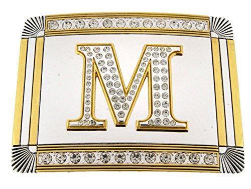 Greek Belt Buckles - Initial Belt Buckle M US American English Alphabet Monogram Mirror Shiny Metal