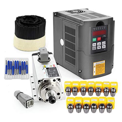 New 1.5W Air Cooled cnc Spindle Motor + 110V 1.5KW Inverter VFD + 13PCS ER11+ 70mm Brush + Drill Bits