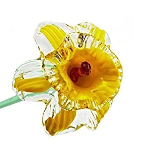 "Yellow Glass Daffodil Flower, One-of-a-kind, Life Size 20"" long. FREE SHIPPING to the lower 48 when you spend over $35.00 5"