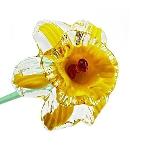 Yellow Glass Daffodil Flower, One-of-a-kind, Life Size 20