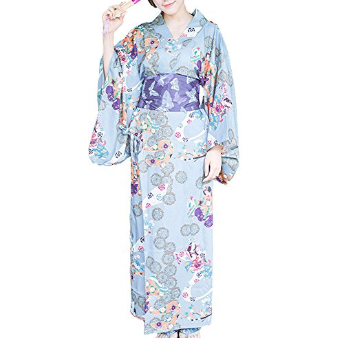 [Plaid&Plain Women's Holloween Printing Japanese Kimono Dress Yukata Belt Robe Blue M] (Comic Con Costumes For Females)