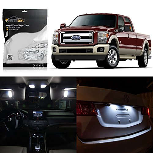 Partsam 11x 2005-2016 Ford F-250 F-350 F-450 F-550 White LED Package Interior + License