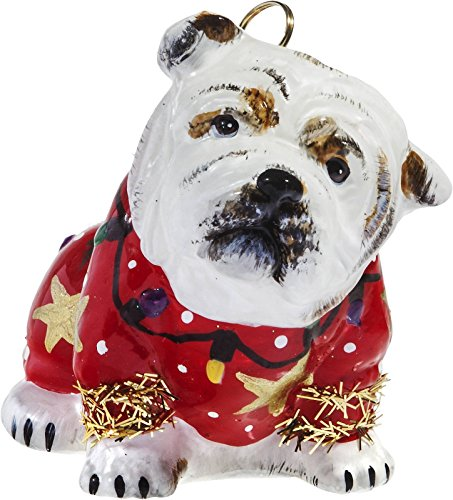 Joy To The World Bulldog in Ugly Christmas Sweater Dog Polish Glass Tree Ornament Pet ()
