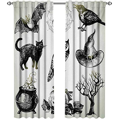 Vintage Halloween, Party Curtains Decorations, Halloween Related Pictures Drawn by Hand Raven Owl Spider Black Cat, Curtains for Doors with Windows, W108 x L96 Inch, Black -