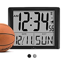 MARATHON CL030061BK Super-Jumbo Commercial Grade Digital Atomic Wall Clock with 7-Inch Digits - Batteries Included