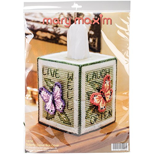 Butterfly Tissue Box Cover Plastic Canvas Kit with Saying