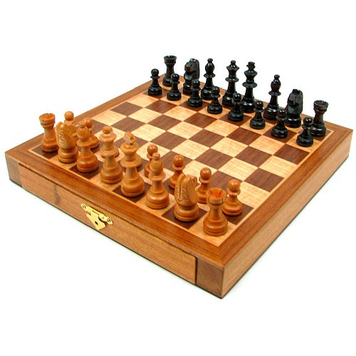 Trademark Games Elegant Inlaid Wood Cabinet with Staunton Wood Chessmen, Brown