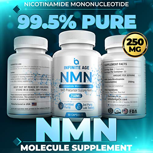 510lZNe2GvL - Infinite Age PURE NMN (250mg) | Nicotinamide Mononucleotide Supplement | Support Optimal Brain Function| NAD Anti-Aging Support | Supports Health Energy Production I 60 Capsules
