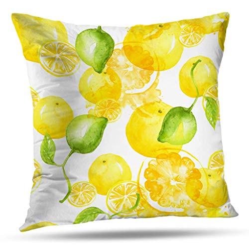 Decorative pillow covers, Slip Pillowcase 16 x 16 inch Square Pillow Cushion Cover Watercolor Painting Vintage Seamless Pattern Tropical Fruits Slices for Sofa Bedroom Living Room(Two Sides Print)