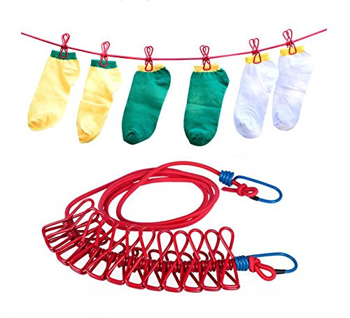 (Elandy 1Set 18.5M Windproof Clothesline with 12 Clothing Clips-Outdoor Strong Beach Towel Clips Hanging Holders Hooks Drying Pegs for Socks/Towels/Underwear(Color Random))